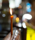 The candle on walking street street in pattaya standing a protection night Royalty Free Stock Photo