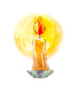 Candle in watercolor. Mystical image. Divination, the symbol of