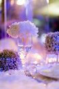 Candlelight dinner wedding table set for dining wedding party Stock Image