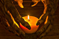 Candlelight illuminating the werewolf hands two toned for halloween concept Stock Image