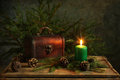 Candlelight still life with christmas Stock Photo