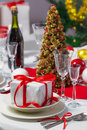 Candlelight on a table decorated beautifully for christmas Royalty Free Stock Image