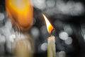 Candlelight on white bokeh background Royalty Free Stock Photo