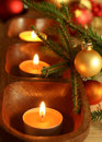 Candles, balls and fur-tree branch Royalty Free Stock Image