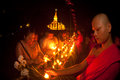 Candles in boat during loykratong festival in laos vientiane octo ber peoples and monks light on the is the buddhist religious Royalty Free Stock Photography