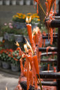 Candles burning at the leshan buddhist temple Stock Image