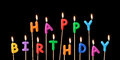 Candles burning with the words happy birthday Royalty Free Stock Images