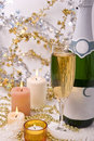 Candles and champagne Stock Photo