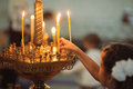 Candles in christian church ortodox peaceful interior Royalty Free Stock Photo