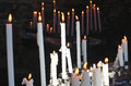 Candles in church religion concept set of lighting Royalty Free Stock Photos
