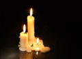Candles on dark three lighting background with free space for text Royalty Free Stock Photography