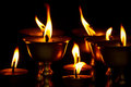 Candles of Drubgon Jangchup Choeling Tibetan Temple, Kathmandu, Royalty Free Stock Photo