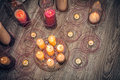 Candles festive decor from burning Royalty Free Stock Images