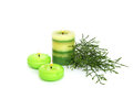 Candles green pine leaves isolated on white background Royalty Free Stock Photos