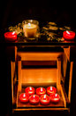 Candles and leaves Royalty Free Stock Photo