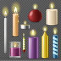 Candles realistic 3d set wax candle fire flame light beeswax taper on transparent background vector