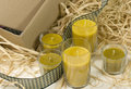 Candles, ribbon and box Royalty Free Stock Photography