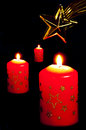 Candles with star of Bethlehem Stock Image