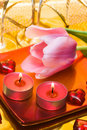 Candles with tulip Stock Image
