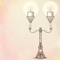 Candlestick with two stems on watercolor Stock Photos