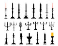 Candlesticks black silhouettes of illustration Stock Image