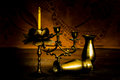 Candlesticks, vases and candle Royalty Free Stock Photo