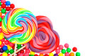 Candy border colorful corner with lollipops and gumballs Royalty Free Stock Photography