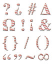 Candy cane alphabet digital illustration of a symbols Stock Image