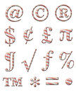 Candy cane alphabet digital illustration of a symbols Royalty Free Stock Image