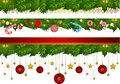 Candy cane and decorations. Stock Image