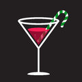 Candy cane in glass illustration of a a martini style Royalty Free Stock Photo