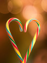 Candy cane heart beautiful shaped in Royalty Free Stock Photos