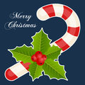 Candy Cane & Holly Berry Christmas Card Royalty Free Stock Photo