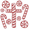 Candy cane and peppermints sketch Stock Image