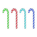Candy cane set of four different coloured isolated on a white background Royalty Free Stock Images