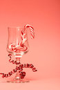 Candy Cane in a Wine Glass Royalty Free Stock Photo