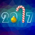 Candy Cane and Yellow Glass Ball Royalty Free Stock Photo