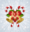 Candy canes and bells decoration Royalty Free Stock Photos