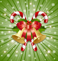 Candy canes and bells decoration Stock Photo