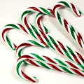 Candy canes a closeup of colorful on a white background Stock Photography