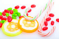 Candy canes and lollipop Royalty Free Stock Photography