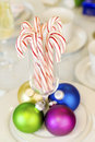 Candy canes and ornaments Royalty Free Stock Images