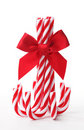 Candy canes tied with ribbon bow Stock Image