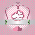 Candy card with cream cake with heart on top, over white and silver background with pink dots Royalty Free Stock Photo