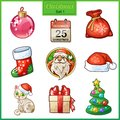Candy cartoon icons set for christmas and new year santa claus sock gift with red bow tree with toys etc Royalty Free Stock Photography