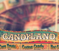 Candy classic amusement park sign selling cotton hot dots etc with a suble vintage styling Royalty Free Stock Images