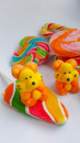 Candy colorful cartoon lollipop tigers and duck character made by sugar for sweet dessert on white background Royalty Free Stock Image