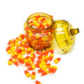 Candy Corn in Jar Stock Photography