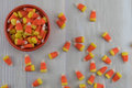 Candy Corn in Orange Bowl with Mess Spill Over