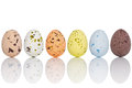 Candy covered easter eggs in a line six coated chocolate on white with clipping path Royalty Free Stock Images